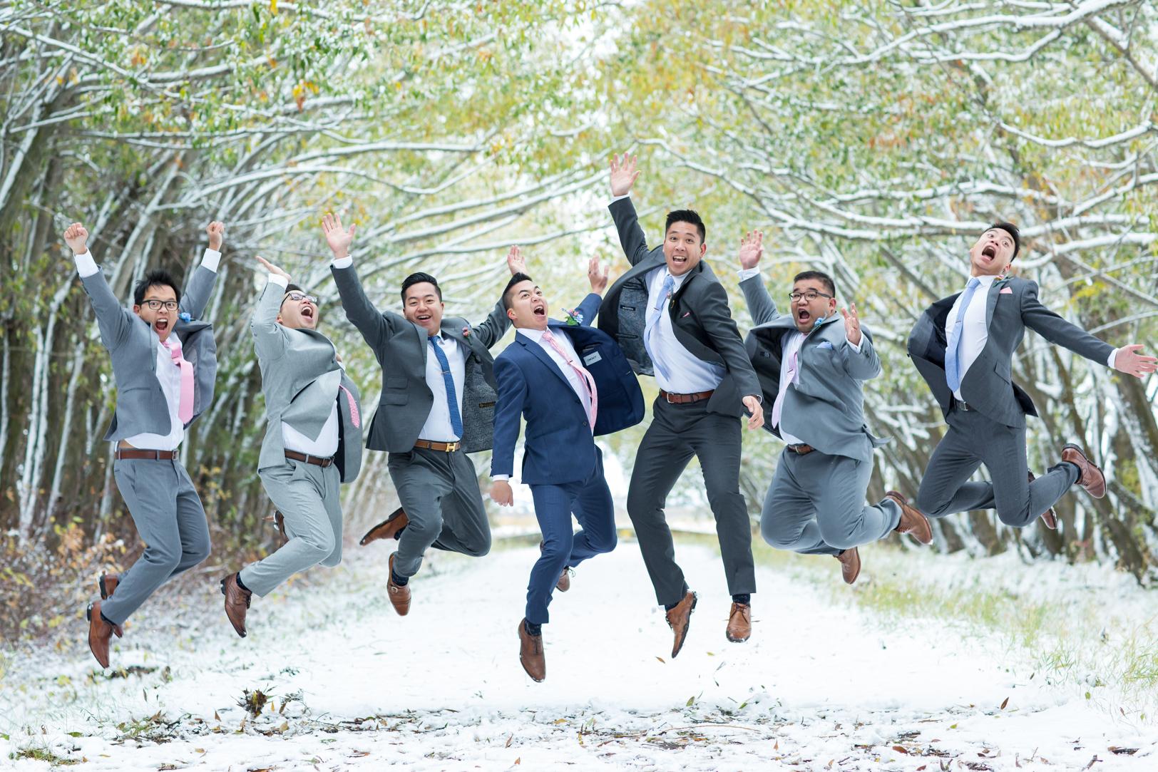 Groomsmen jumping - Edmonton Autumn Wedding