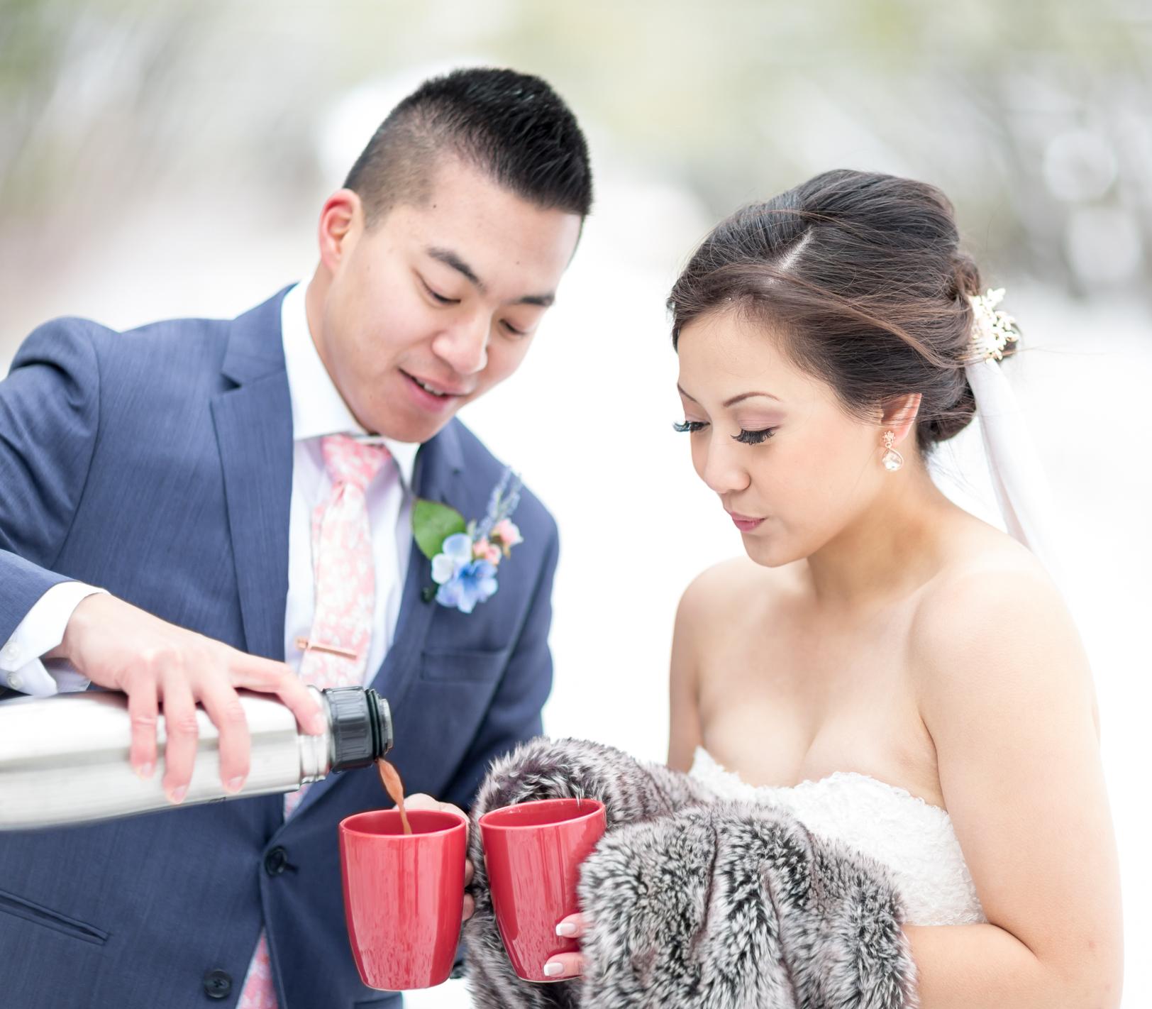 hot chocolate wedding photos