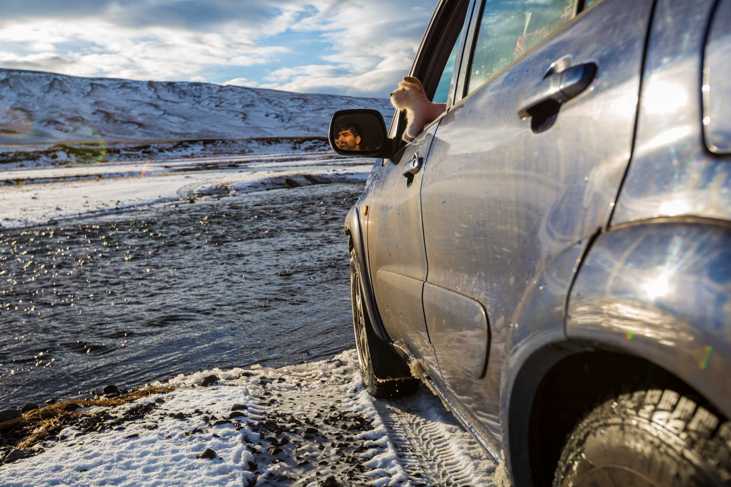 f-road river crossing in iceland winter time
