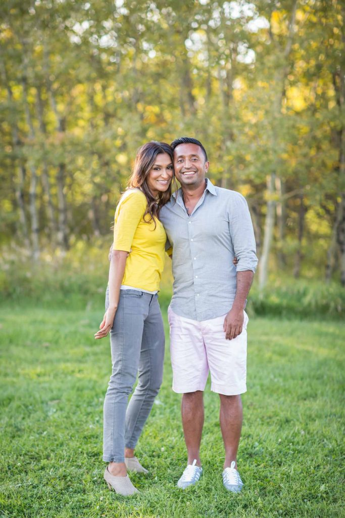 Smiling couple during their Edmonton family photography pictures