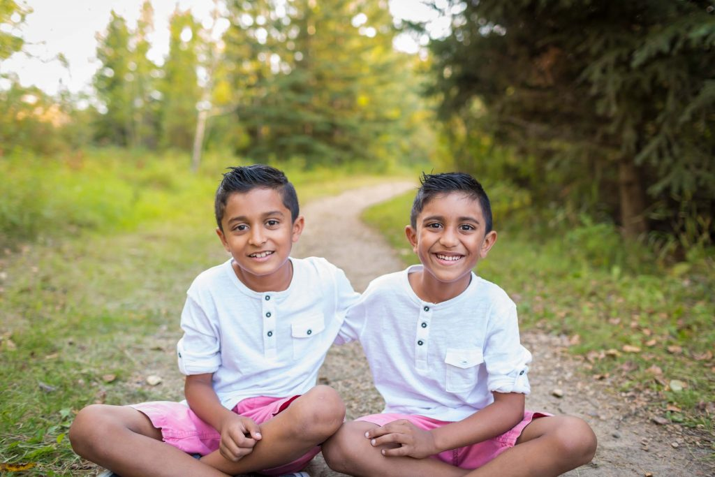 A picture of two brothers during their Edmonton family photography session