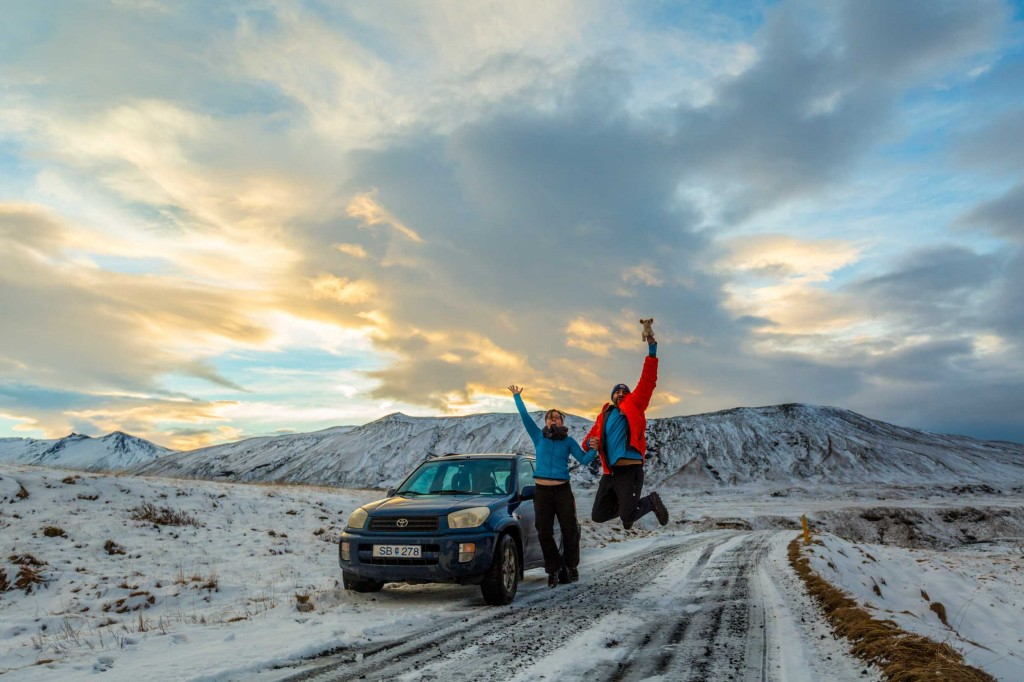 Picture of us with our rental car in Iceland in winter while winter driving in iceland