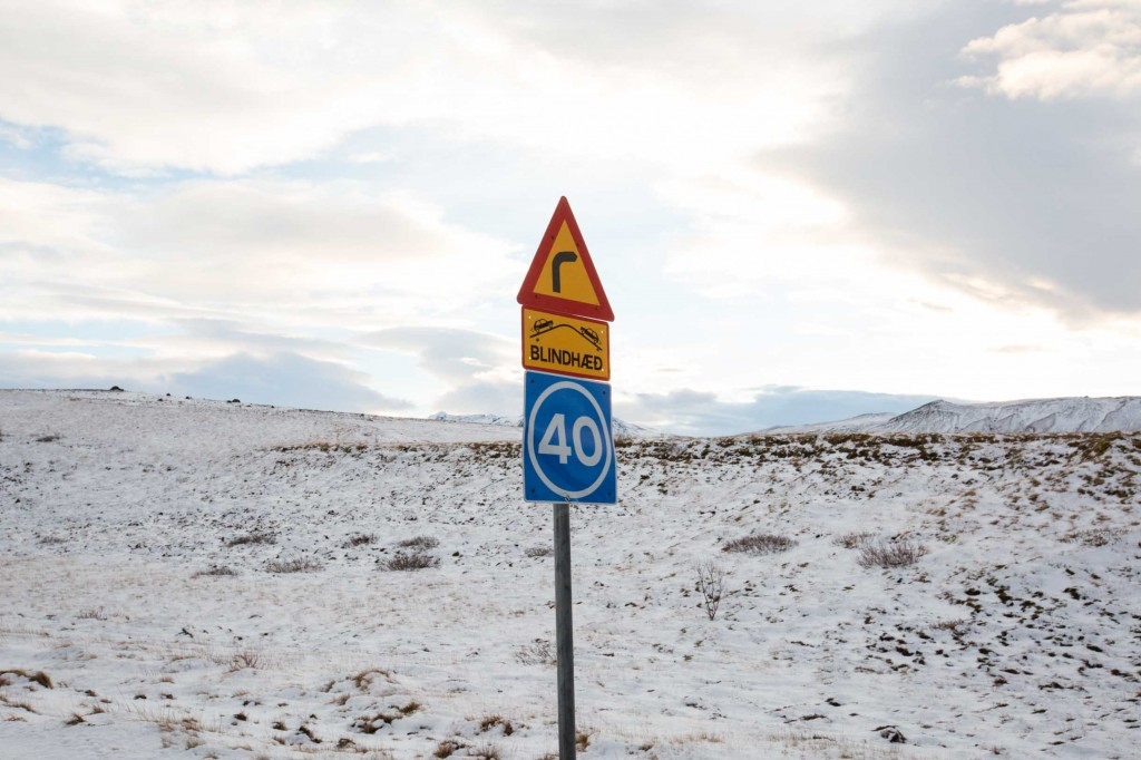 Iceland road sign - Blind hill ahead go slow