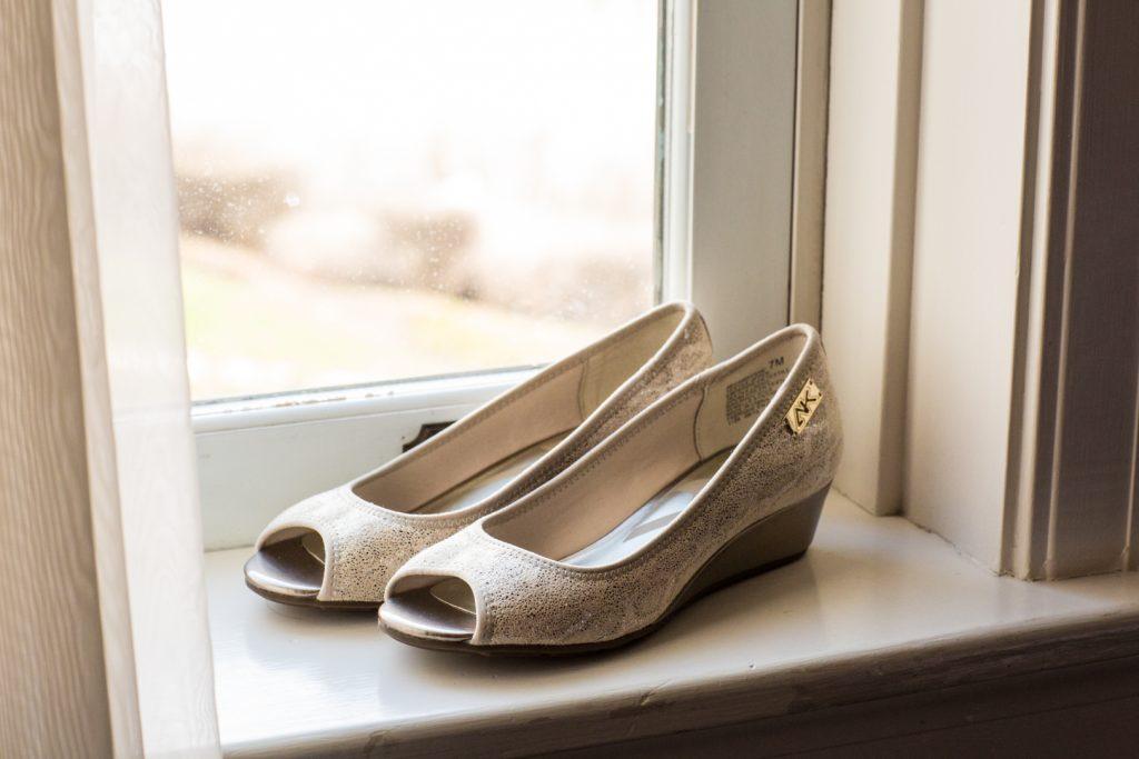 Blush colour bridal shoes