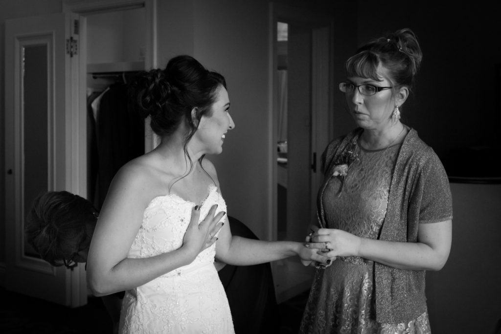 Bride with her sister before the wedding