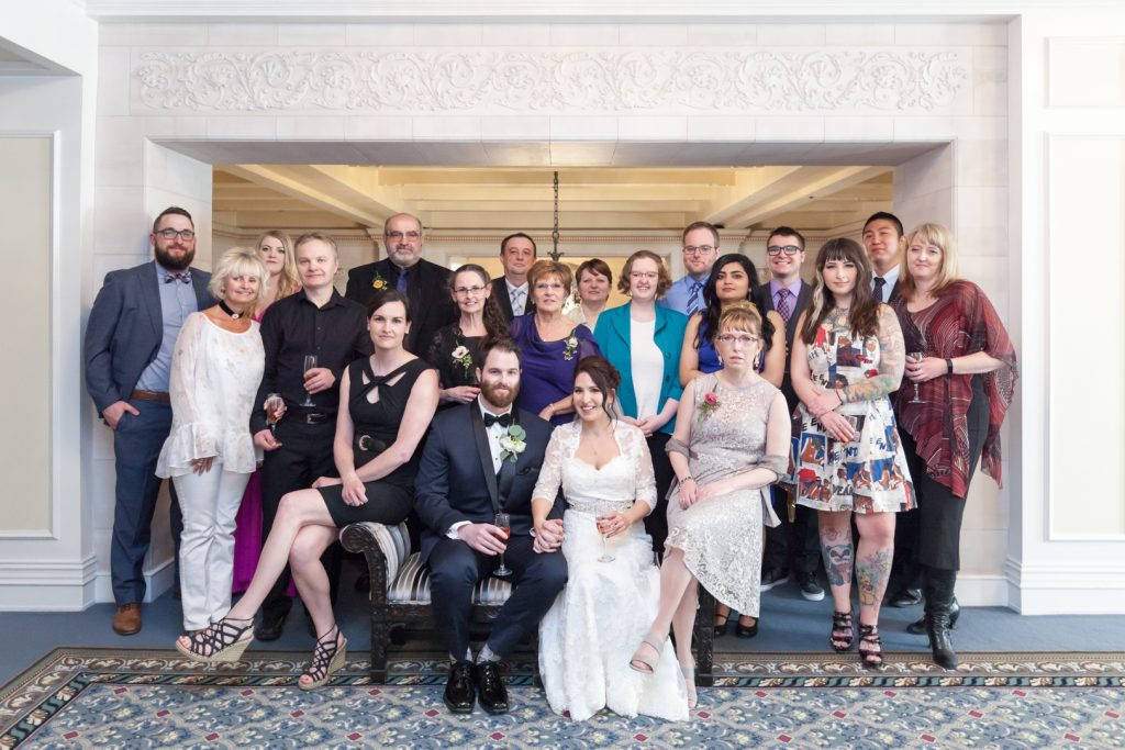 Bride and groom with all of their guests in a big group photo