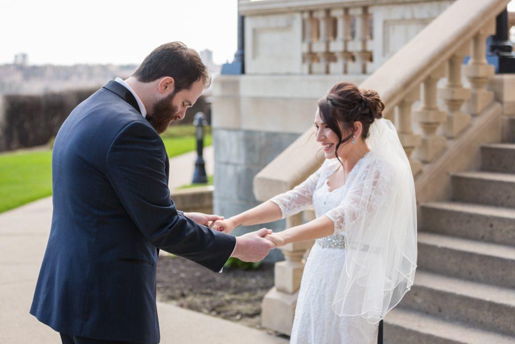 First look wedding photos at Fairmont Hotel MacDonald