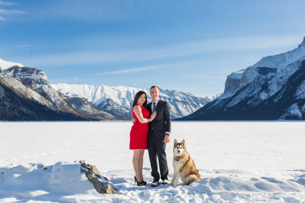 Formal engagement photos in mountains - Mountain Engagement Photography by Deep Blue Photography