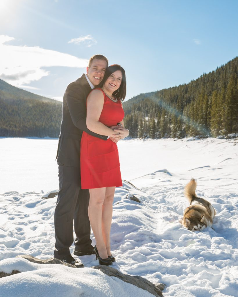 Couple with their dog - Mountain Engagement Photography by Deep Blue Photography