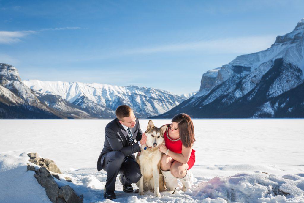Family photos with dog - Winter Mountain Engagement Photos