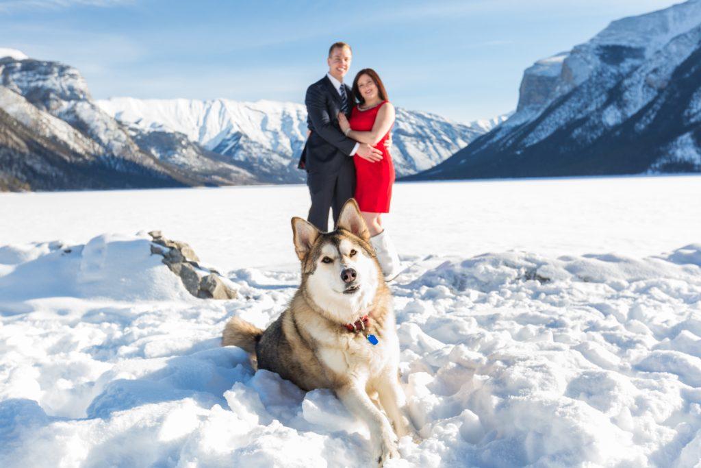 Elegant mountain engagement photos with dog - Mountain Engagement Photography by Deep Blue Photography