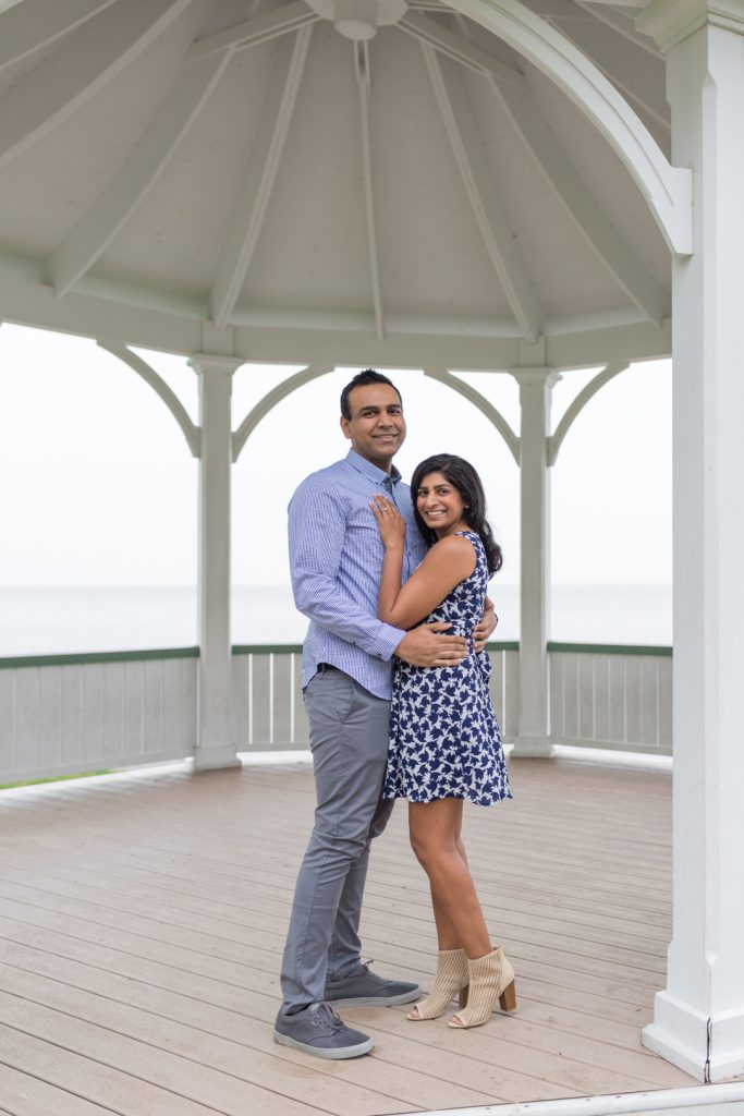 Couple standing in gazebo - Niagara on the Lake Engagement Photography
