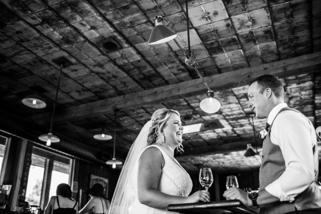 Bride and groom at winery