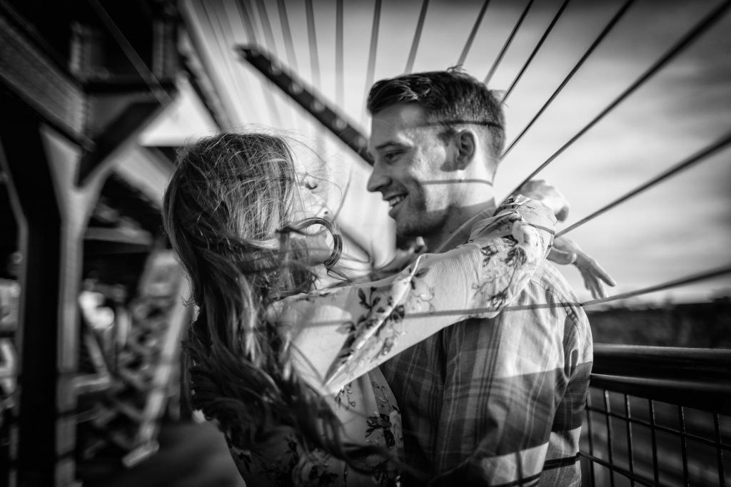 high level bridge engagement photos