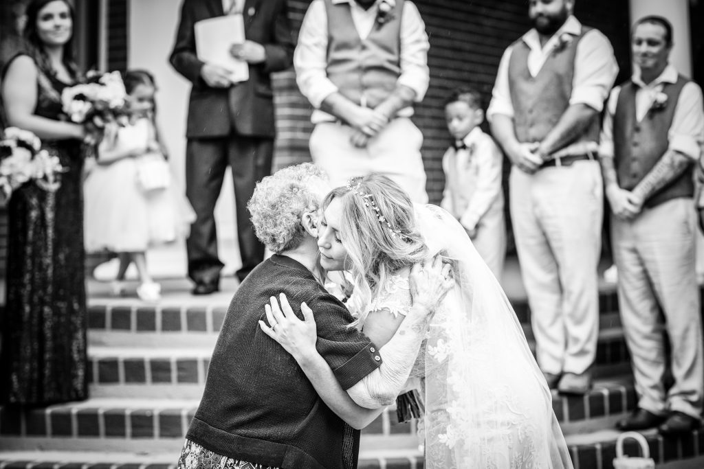 bride hugging her grandmother