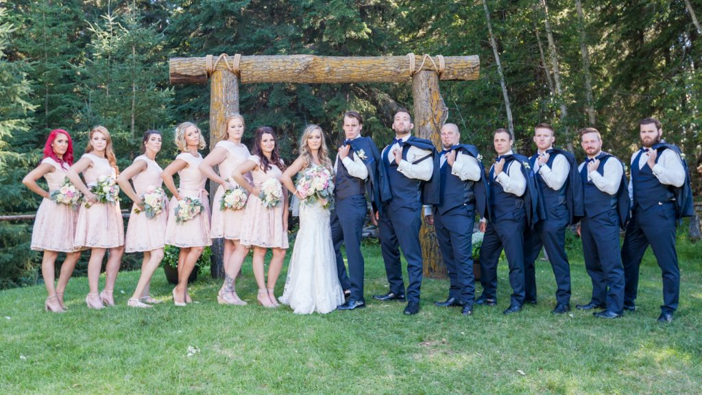 wedding party portrait with bridesmaids and groomsmen