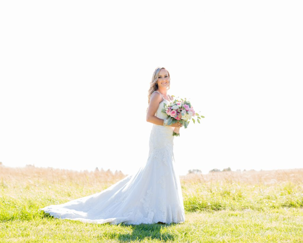 bride portrait in wheat field