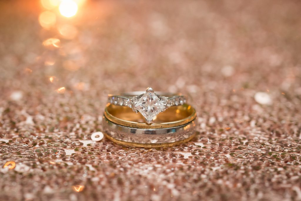 blush and gold wedding ring detail photo