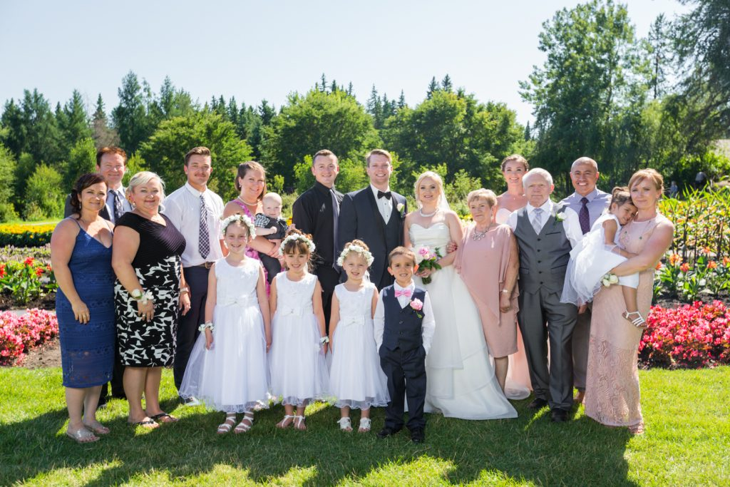 Outdoor wedding family portrait