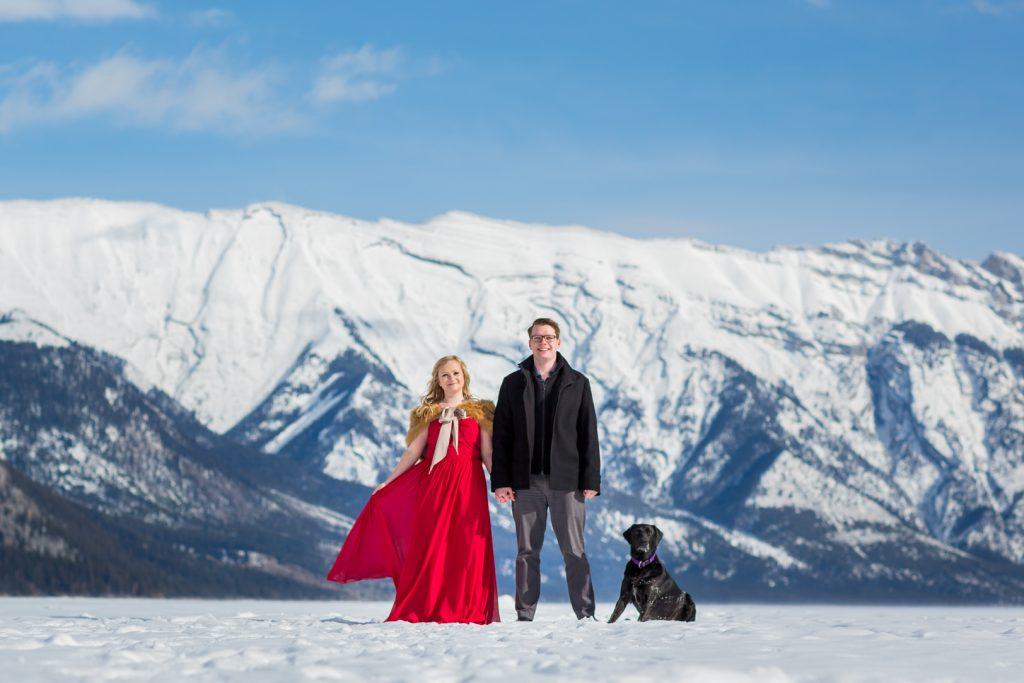 snowy engagement photos banff