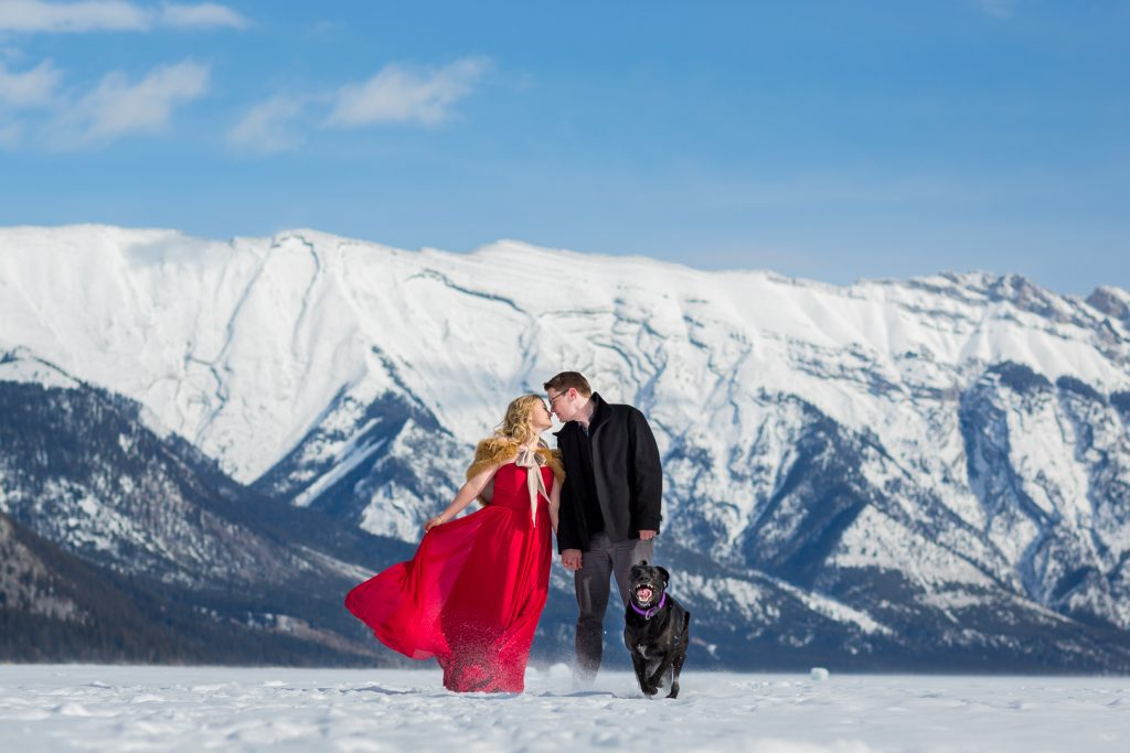 snowy engagement photos with dog in banff