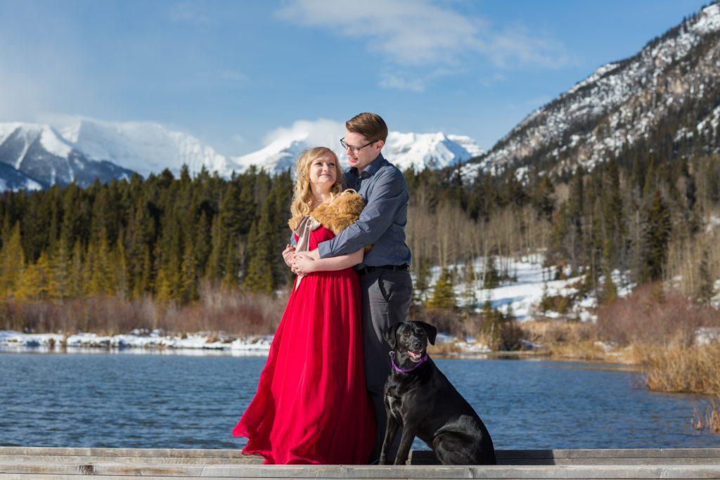 winter engagement photos in banff