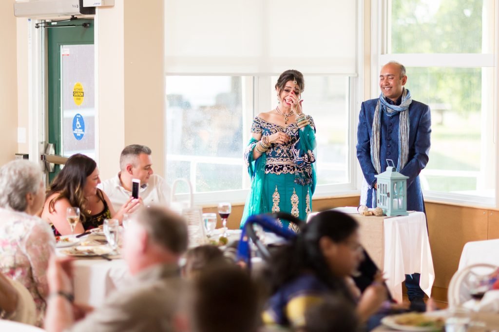 Bride and groom speech at Moonlight Bay Centre during wedding reception