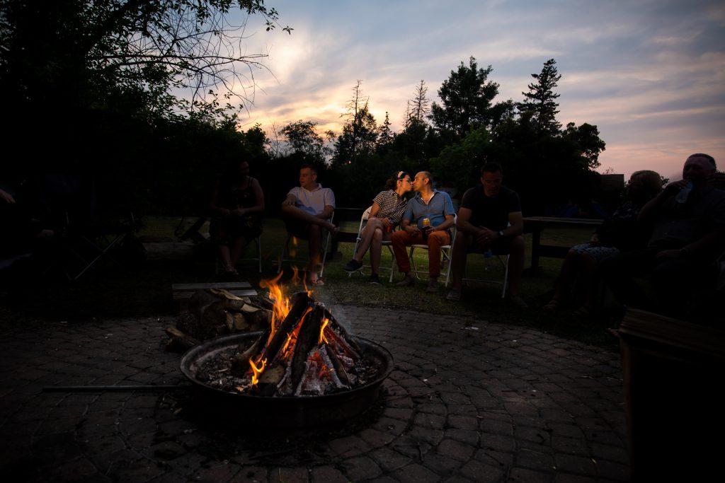 Wedding night campfire at Moonlight Bay Centre