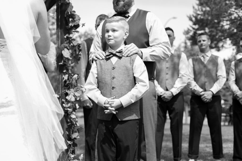 Bride and groom included their son in the wedding ceremony at Snow Valley