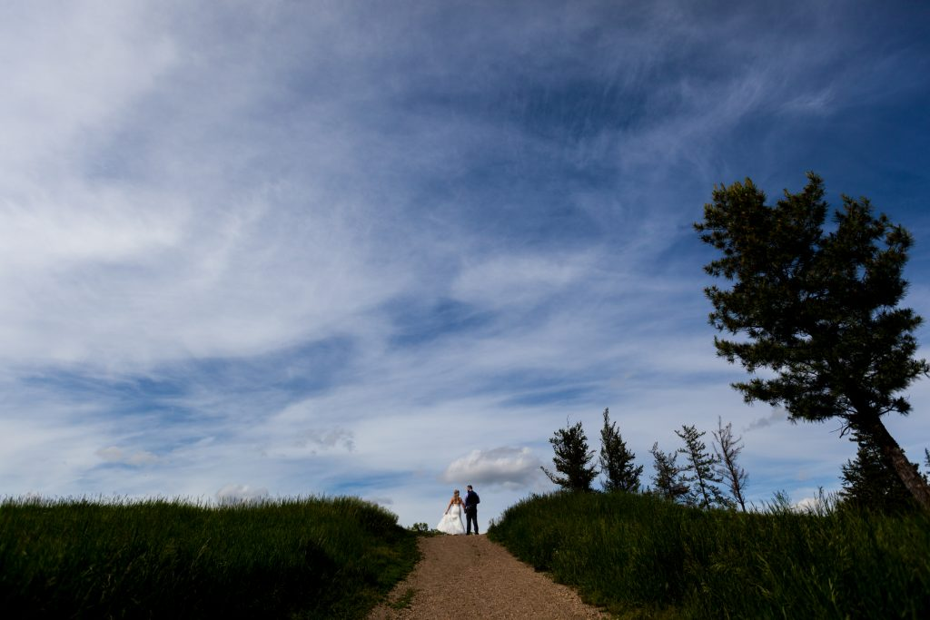 Bright blue summer skies for this Snow Valley wedding portrait session