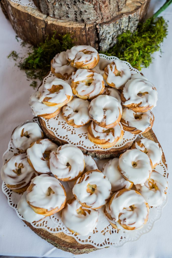 Snow Valley wedding doughnut dessert table