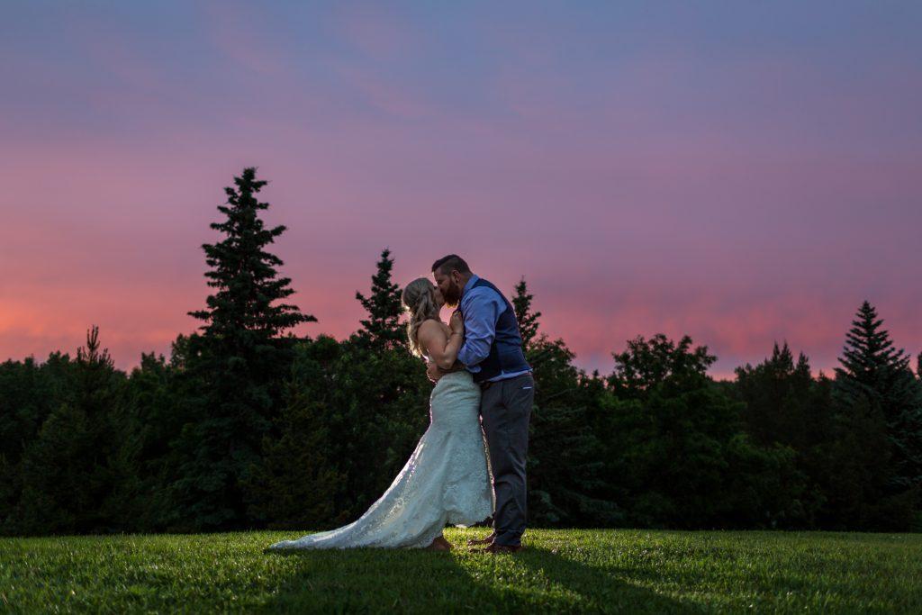 Summer sunset wedding portraits at Snow Valley