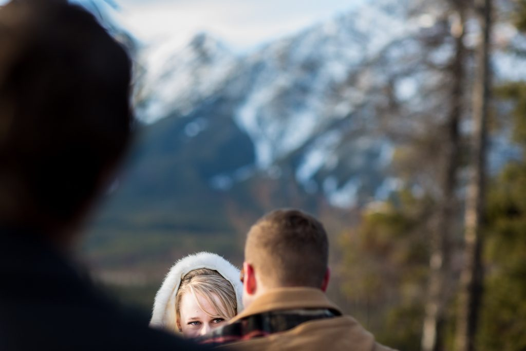 Outdoor winter wedding venue at Pyramid Lake Island