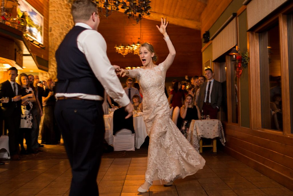 Bride and groom have some fun during their first dance at the Pines Restaurant at Pyramid Lake