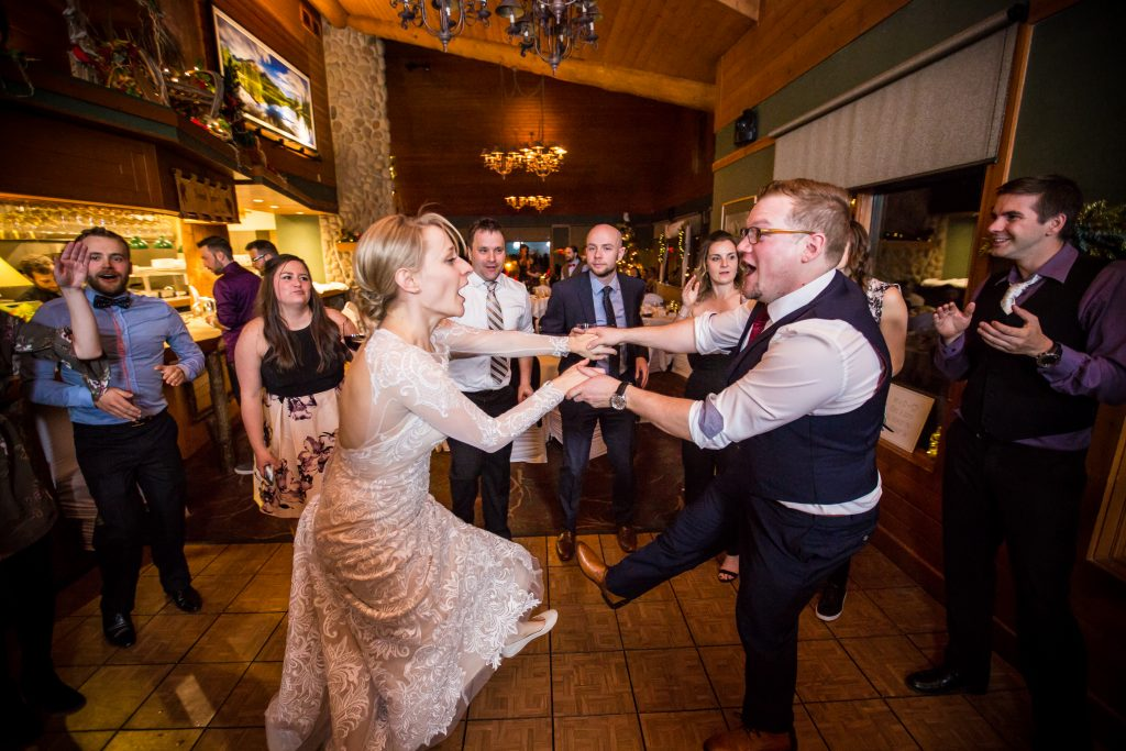 Bride and groom dancing the night away at Pyramid Lake