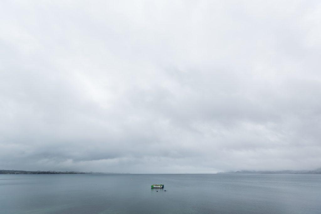 lake taupo rainy day