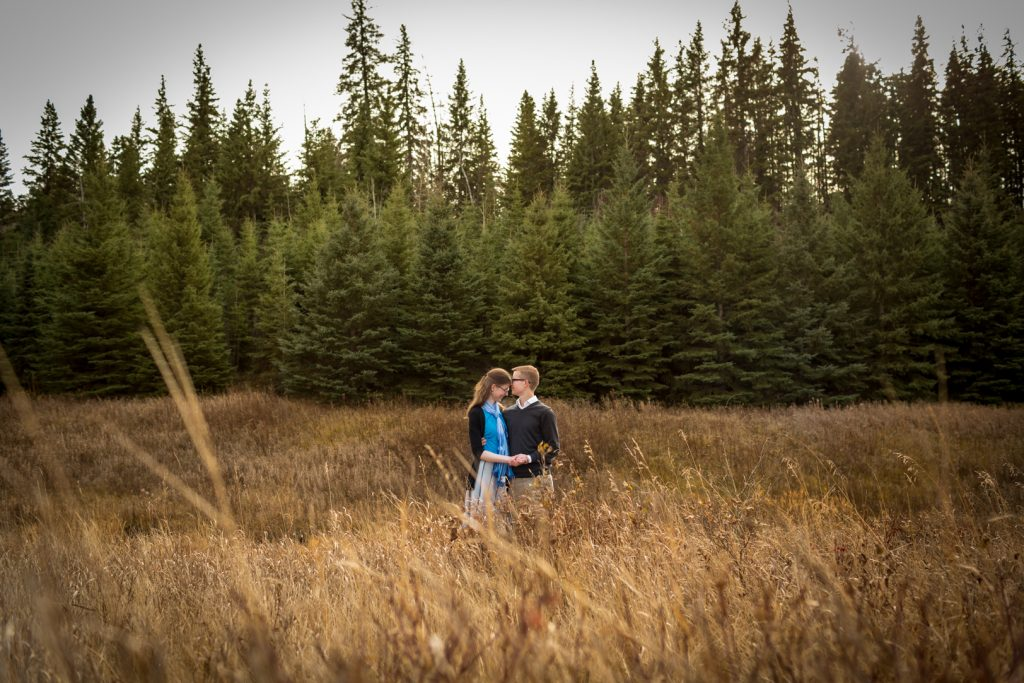 Romantic autumn engagement photos McTaggart Sanctuary Edmonton