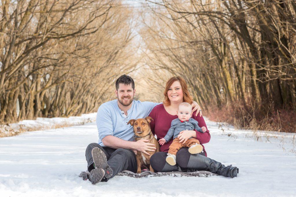 Edmonton Winter Family Photos with dog