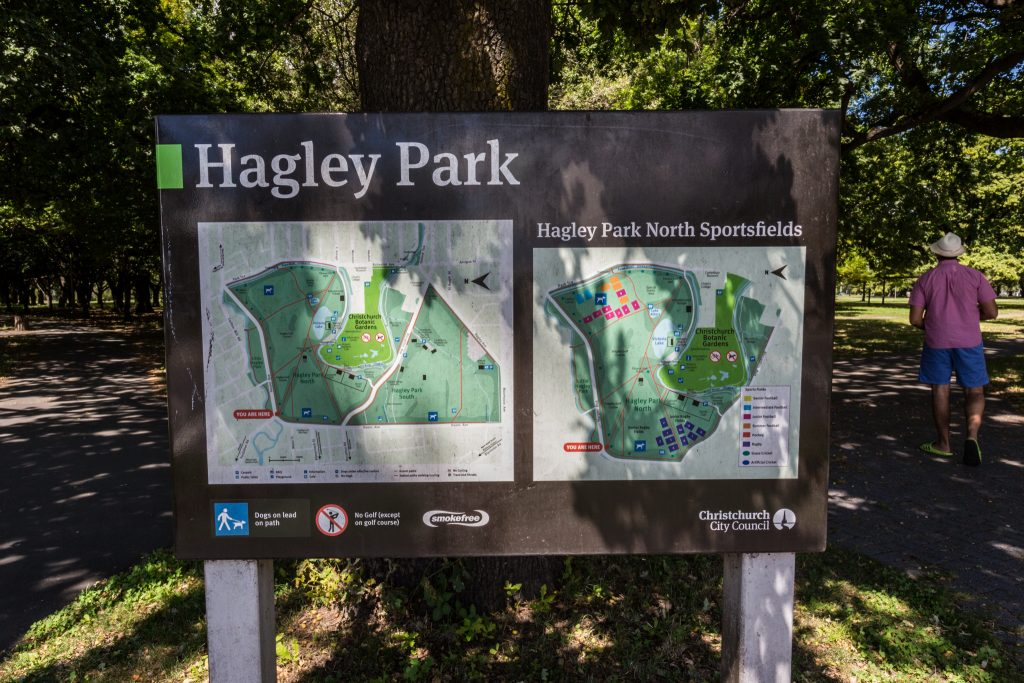 North Hagley Park Christchurch SIgnpost