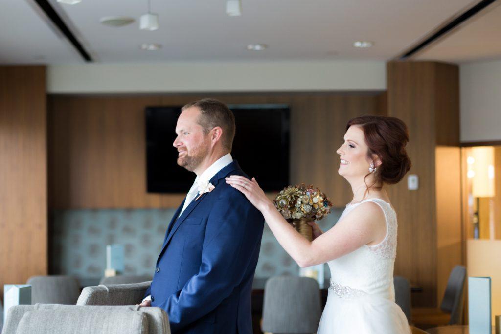 Delta Edmonton south wedding first look photos