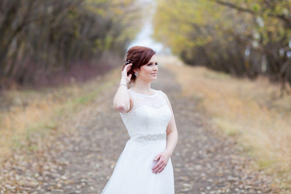 Bridal portrait for outdoor autumn wedding Edmonton