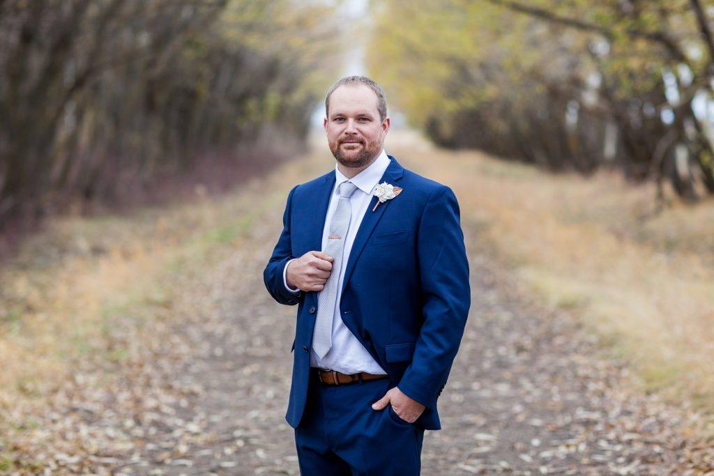 Groom portrait outdoor autumn wedding photography locations Edmonton