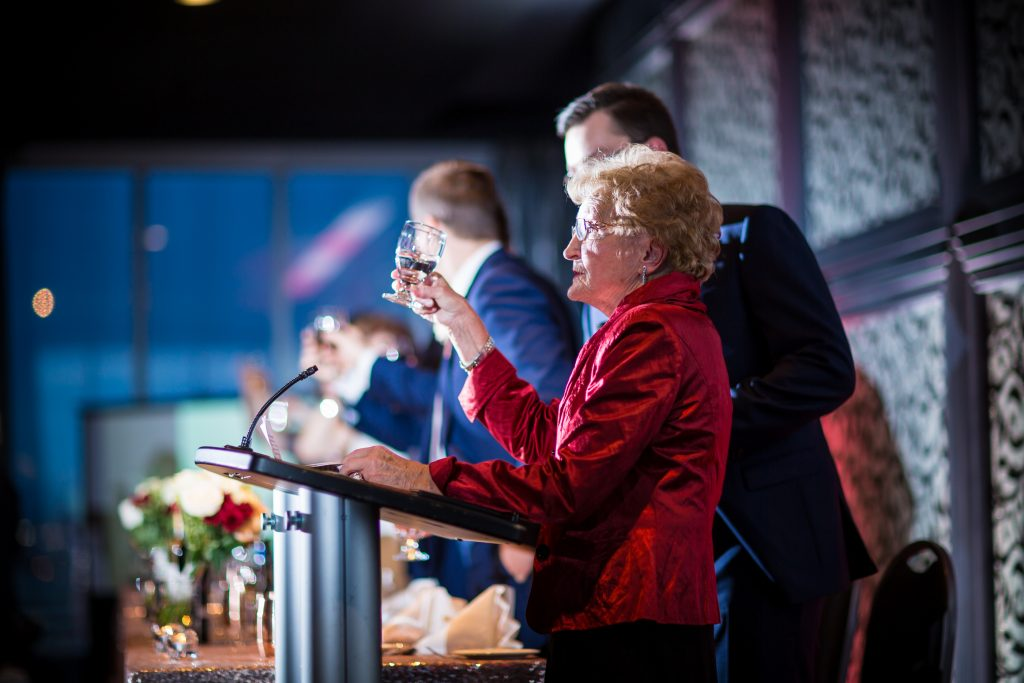 Wedding speeches at the Delta Edmonton South wedding reception