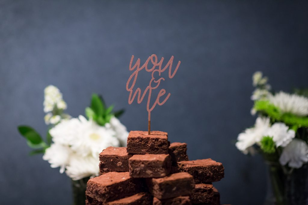 Instead of having a wedding cake, this couple had wedding brownies