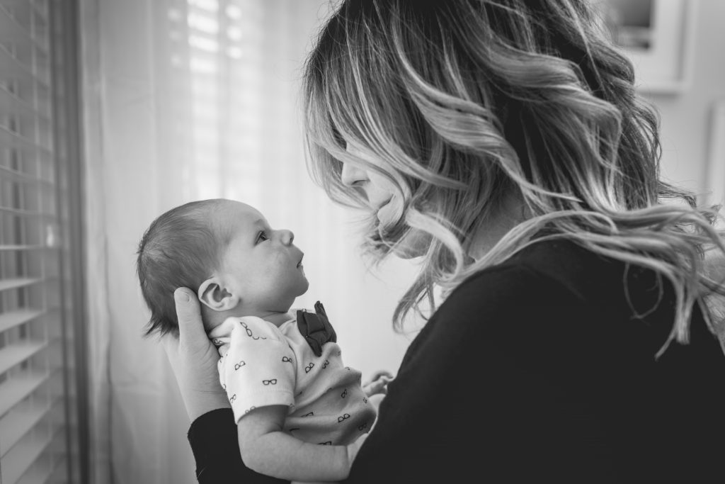 Newborn Family Portraits of mother and son