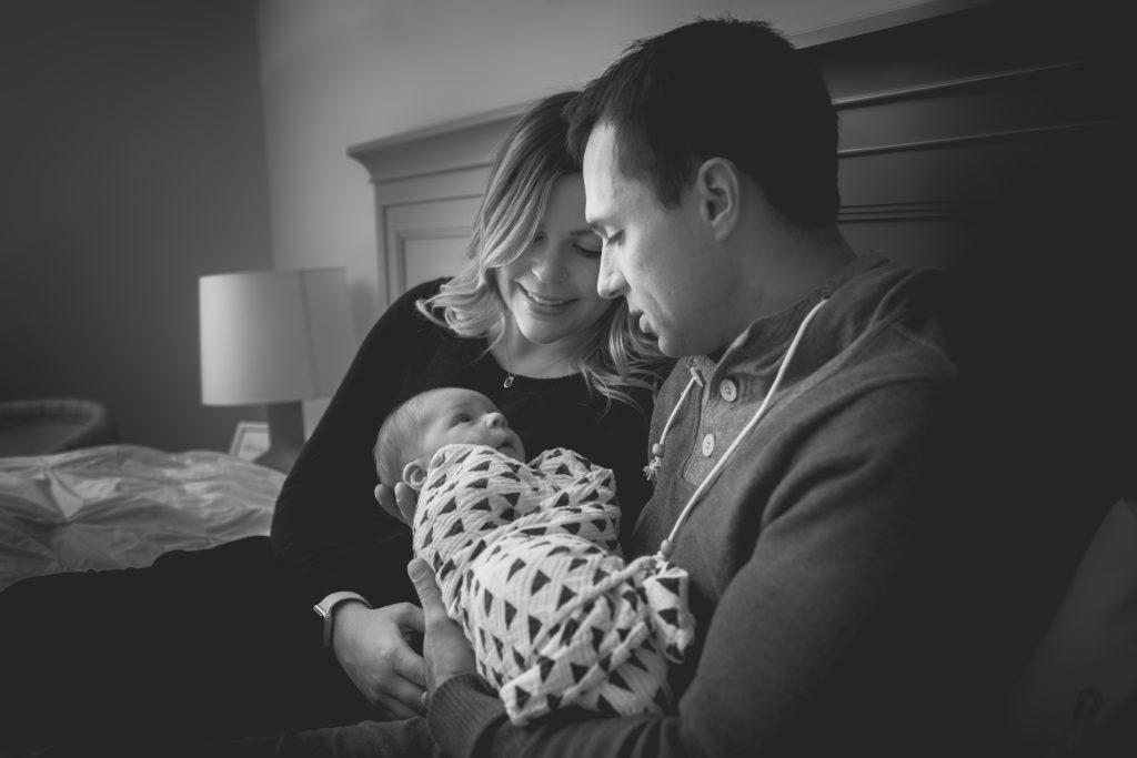 Newborn family photos taken at home