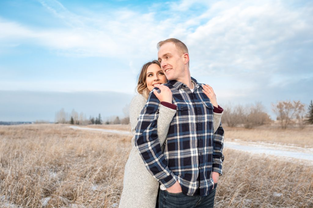 Winter engagement photos at Strathcona Science Provincial Park Edmonton