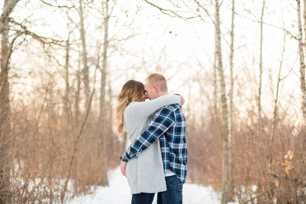 Romantic forest Strathcona Park Winter Engagement pictures