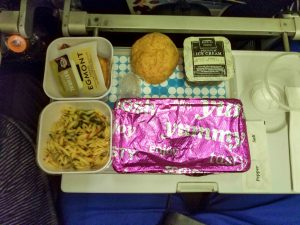 Picture of dinner meal on Air New Zealand