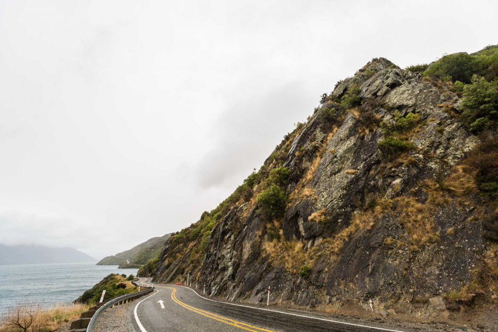 Driving to Queenstown from Curio Bay on another rainy day